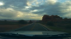 Arches National Monument road scenes driver POV in time lapse - 1 Stock Footage