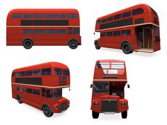 isolated collection of red bus - stock illustration