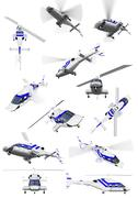 isolated collection of helicopter - stock illustration