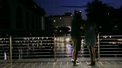 Lovers on Bridge Stock Footage