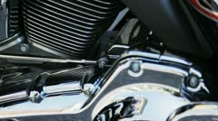 Motorbike chrome engine Stock Footage