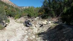 Sport 4x4 vehicle rock climbing narrow mountain canyon HD 015 Stock Footage