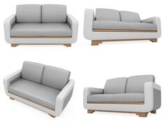 isolated collage of sofa over white background - stock illustration