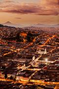 Historical Part Of Quito Capital Of Ecuador As Seen From Panecillo Statue At - stock photo
