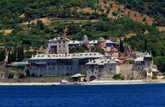 Saint panteleimon monastery, athos peninsula, mount athos, chalkidiki, greece Stock Photos