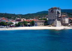 Phospfori tower in ouranopolis, athos peninsula, mount athos, chalkidiki, gre Stock Photos