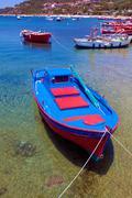 boats near ouranopolis, athos peninsula, mount athos, chalkidiki, greece - stock photo