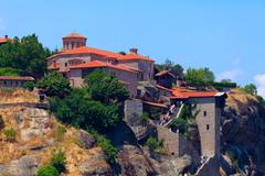 the holy monastery of great meteoron, meteora, thessaly, greece - stock photo