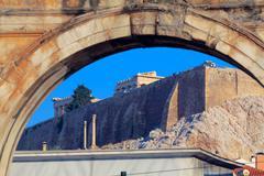 hadrian´s arch and acropolis, athens, greece - stock photo