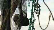 Old fishing nets and machinery Stock Footage