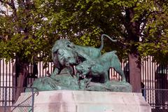Statue from animal serie by auguste cain (1822-1894) in jardin des tuileries  Stock Photos
