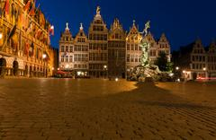 Brabo fountain and guild houses at grote markt, antwerp, belgium Stock Photos