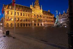 Brabo fountain and town hall (1564) at grote markt, antwerp. belgium Stock Photos