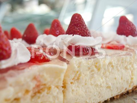 Stock photo of Strawberry cake with whole strawberries