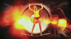 Blonde girl dances inside speaker Stock Footage