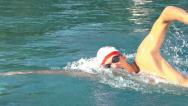 Slow motion crawl swimmer Stock Footage