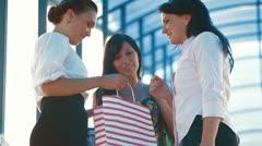Three Women Shopping Stock Footage