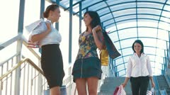 Happy Women on a Shopping Trip Stock Footage