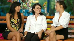 Three Female Friends Immersed in Conversation Stock Footage