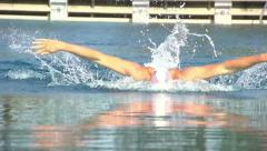 USA butterfly swimmer slow motion front view Stock Footage