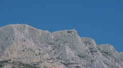 Artists paint scene of Mount St Victoire in Provence Stock Footage