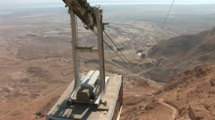 Cableway on Mount Masada in Israel Stock Footage