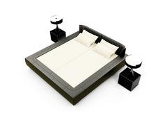 isolated double bed against white background - stock illustration