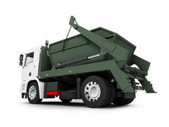 isolated trash dump car on white background - stock illustration