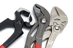 [manual locksmith tools, isolated on a white background - stock photo
