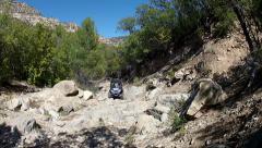 Rock crawling 4x4 sport vehicle steep rocky mountain trail HD 016 Stock Footage