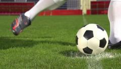 Close up slow motion soccer shot Stock Footage