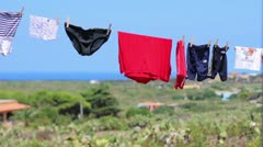 Clothes hanging (Linosa island) Stock Footage