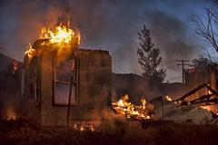 House arson fire at night total destroyed enhanced 9221.jpg - stock photo