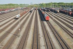 Railroad yard with new automobiles Stock Photos