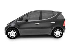 isolated black car side view 02 - stock illustration