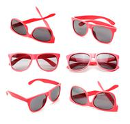 Pink sunglasses  isolated on the white background Stock Photos