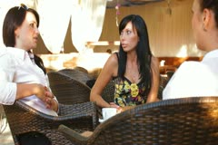 Female Gossip Time at Urban Cafe Stock Footage