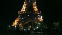 Pan from the Eiffel tower at night Stock Footage