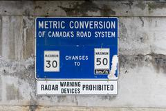 Metric conversion sign in canada Stock Photos