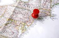 Red pin on new york Stock Photos