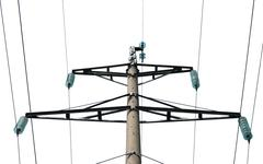 high voltage power pole  isolated on white background - stock photo