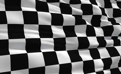 fluttering checkered flag on the wind - stock illustration