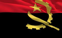 fluttering flag of angola on the wind - stock illustration