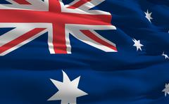 fluttering flag of australia on the wind - stock illustration