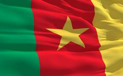 fluttering flag of cameroon on the wind - stock illustration