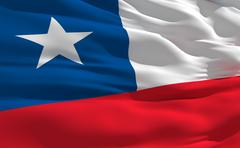 fluttering flag of chile on the wind - stock illustration
