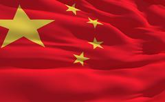 Stock Illustration of fluttering flag of china on the wind