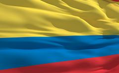 Stock Illustration of fluttering flag of colombia on the wind
