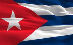 fluttering flag of cuba on the wind - stock illustration