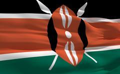 Stock Illustration of fluttering flag of kenya on the wind